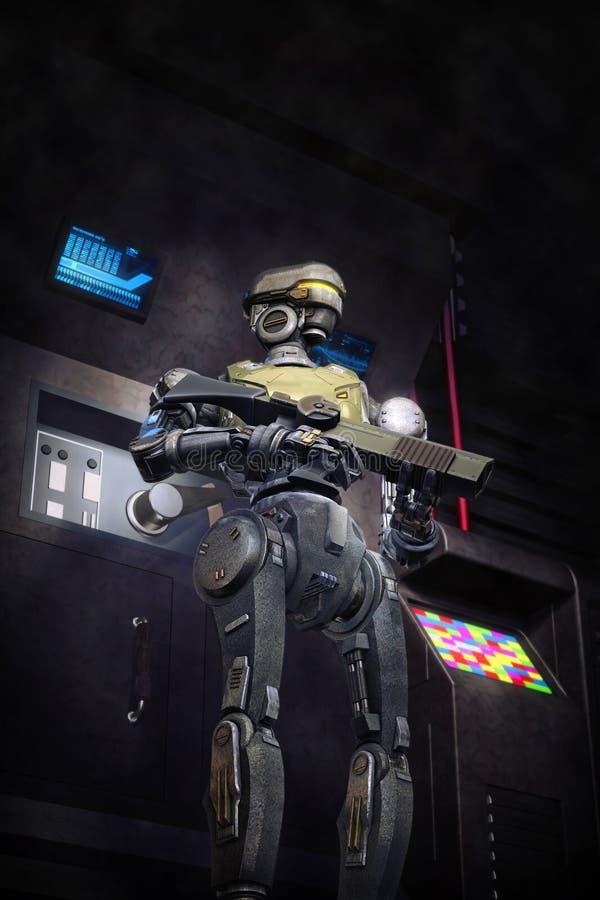 Soldado futurista del robot ilustración del vector