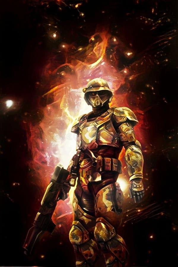 Soldado futurista e fogo do espaço ilustração do vetor