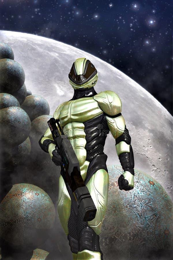 Soldado futurista e lua ilustração stock
