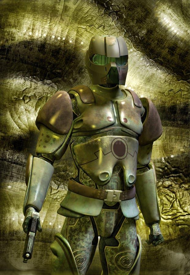 Soldado futurista en armadura stock de ilustración