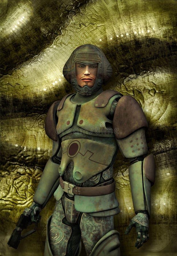 Soldado futurista en uniforme ilustración del vector