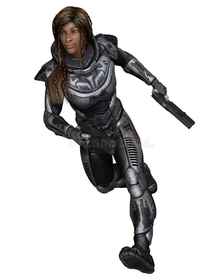 Soldado futuro, fêmea preta, correndo para a frente ilustração do vetor