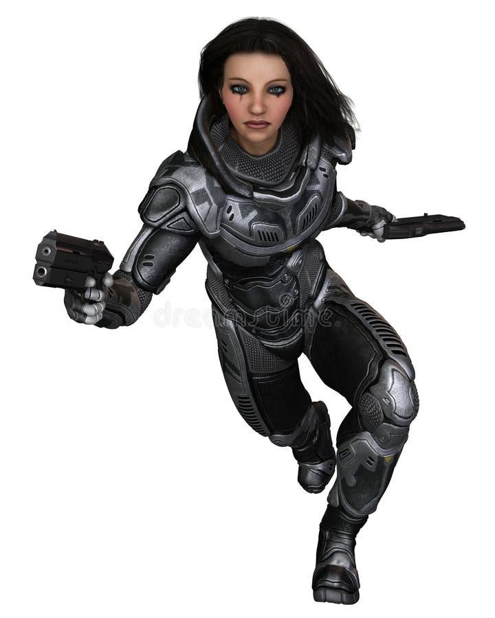 Soldado futuro, morena fêmea, correndo para a frente ilustração royalty free