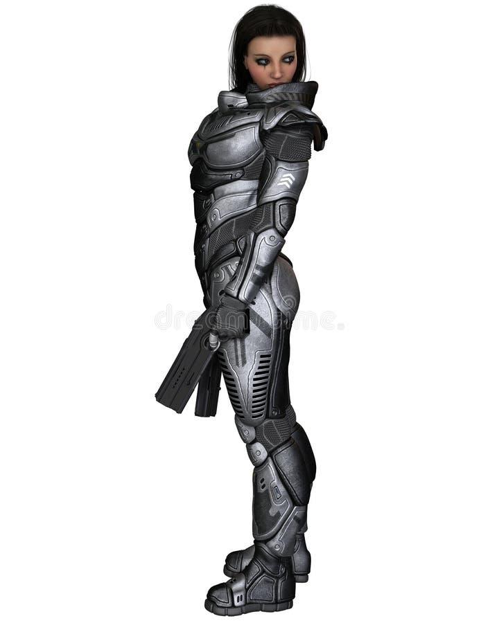 Soldado futuro, morena fêmea, estando ilustração do vetor