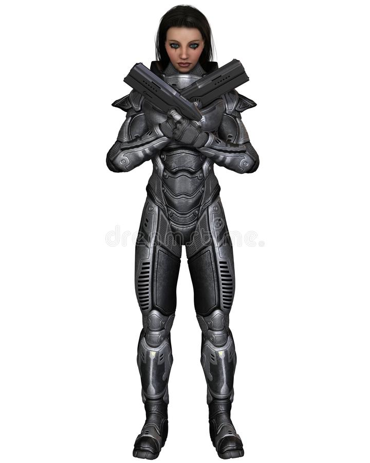 Soldado futuro, morena fêmea, pistolas cruzadas ilustração stock