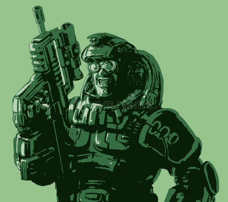 Soldado Gloatingly sonriente en traje con un rifle Ilustración del vector ilustración del vector