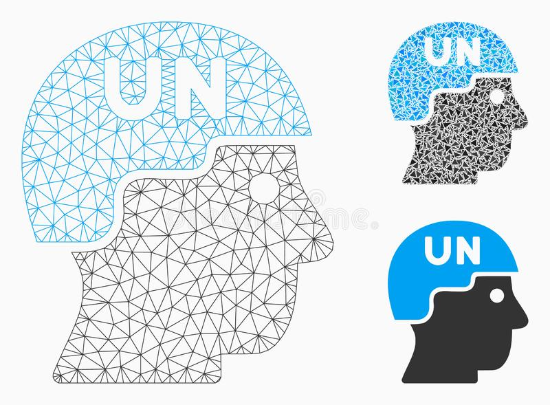 Soldado Helmet Vector Mesh Network Model de Naciones Unidas e icono del mosaico del triángulo ilustración del vector