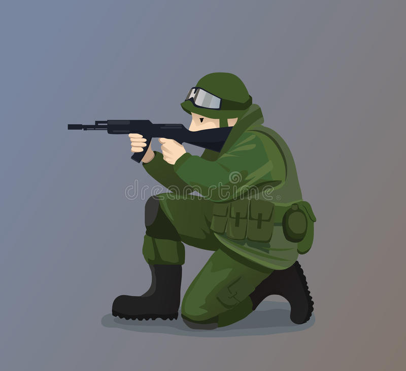 Soldado Holding un arma libre illustration