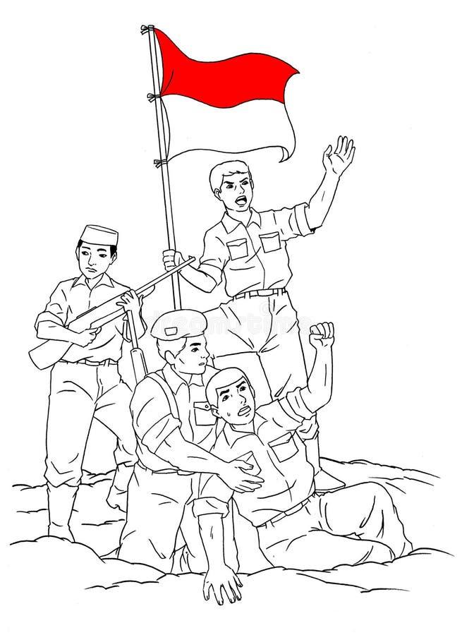 Soldado indonésio no meio da guerra ilustração do vetor