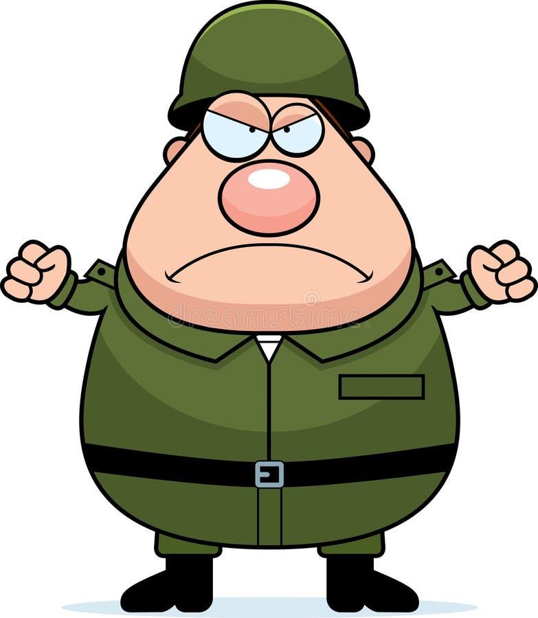 Soldado irritado ilustração do vetor