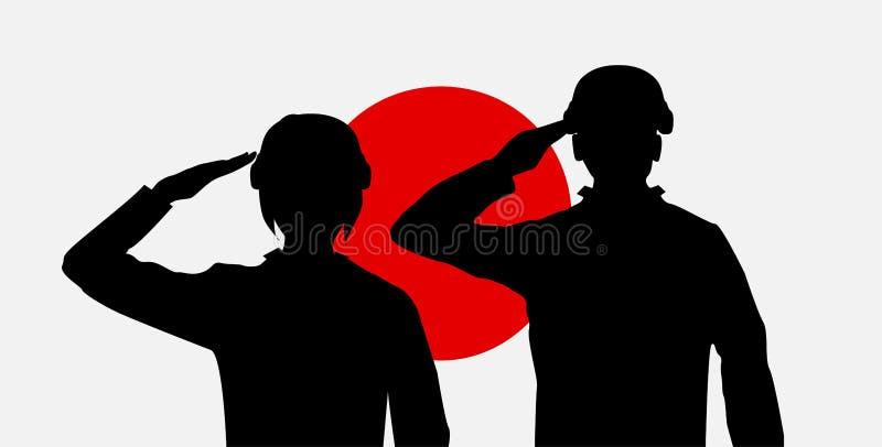 Soldado japonês da silhueta no vetor da bandeira de japão ilustração royalty free