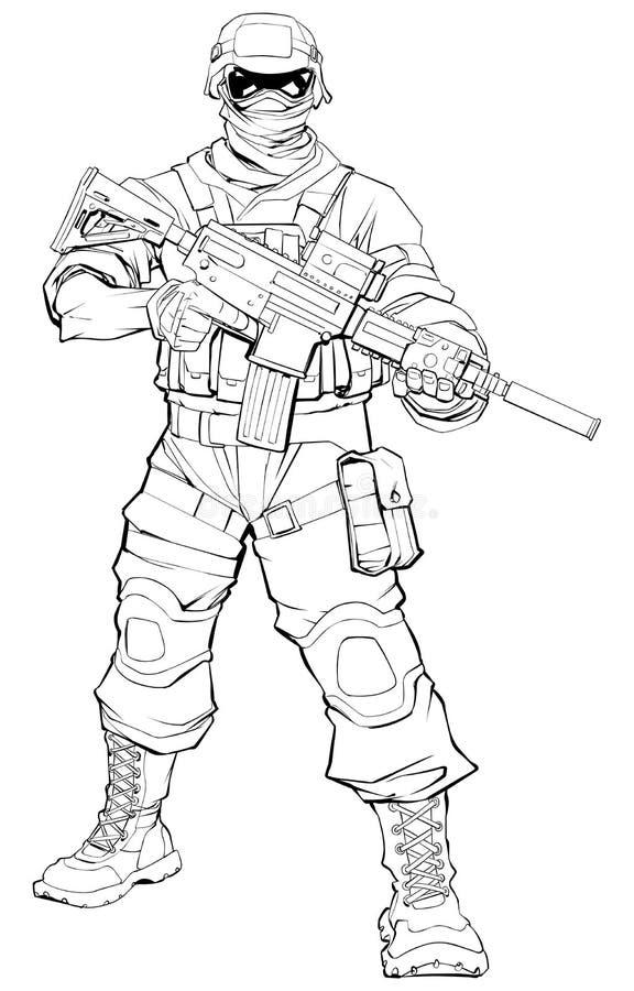 Soldado Line Art ilustração royalty free