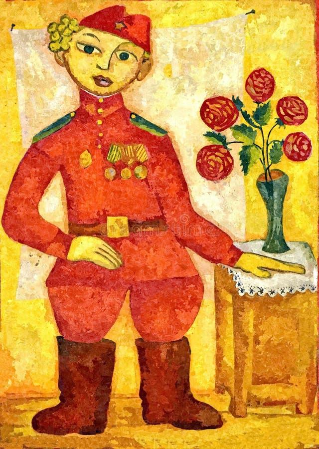 Soldado linha da frente do retrato Victory Day feliz 9! Aquarela molhada de pintura no papel Arte ingénua Aquarela do desenho ilustração royalty free