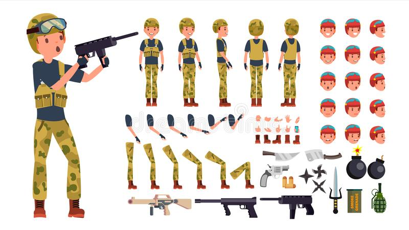 Soldado Male Vetora grupo animado da criação do caráter Comprimento completo do militar, parte dianteira, lado, vista traseira, a ilustração do vetor