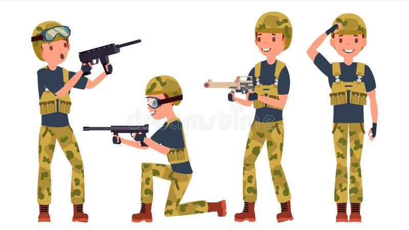 Soldado Male Vetora poses Silhueta Jogo em poses diferentes Forças armadas do homem Guerra Apronte para a batalha exército Isolad ilustração royalty free