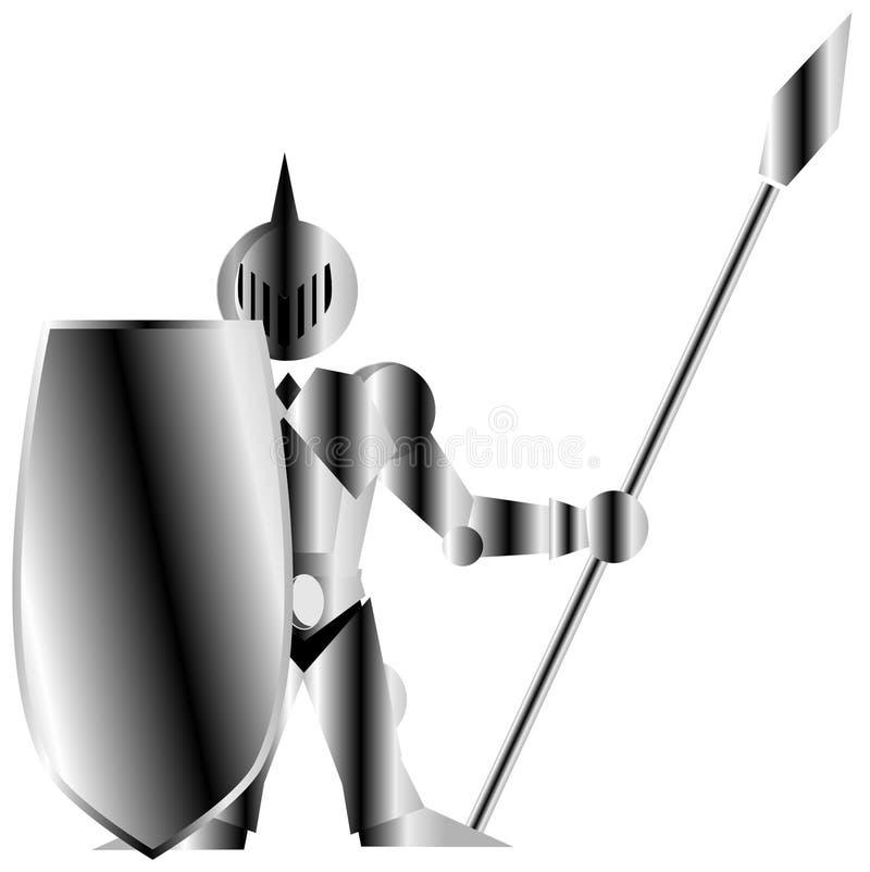 Soldado medieval estilizado ilustração royalty free