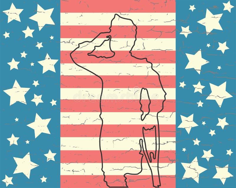 Soldado no dia de veteranos ilustração do vetor