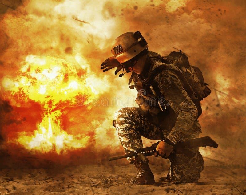 Soldado que da vuelta al hongo atómico imagen de archivo libre de regalías