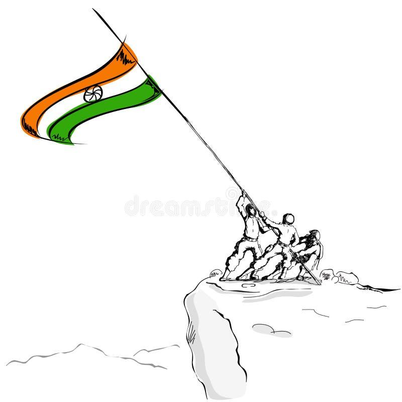 Soldado que levanta a bandeira indiana ilustração do vetor