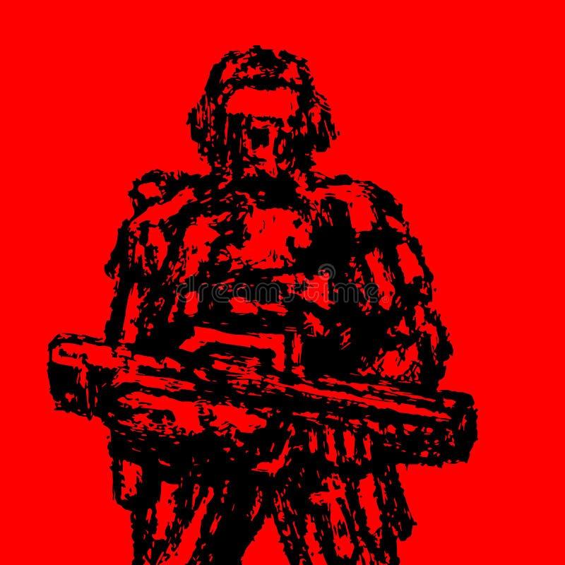Soldado que se coloca con el rifle de asalto Estilo del Grunge Gráficos de vector stock de ilustración