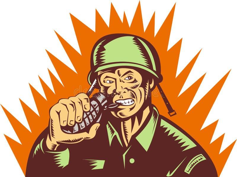 Soldado que tira de la granada de mano del contacto stock de ilustración