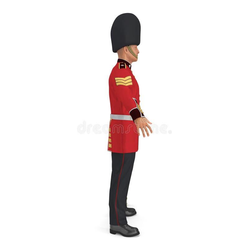 Soldado real británico Standing Pose Isolated del guardia en el ejemplo blanco del fondo 3D stock de ilustración