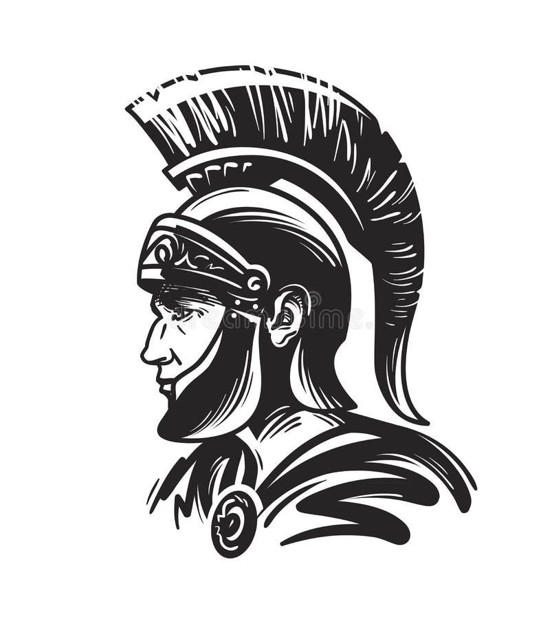 Soldado romano del centurión Ejemplo del vector del bosquejo stock de ilustración