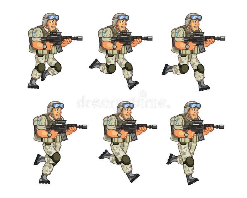Soldado Running Sprite dos E.U. ilustração royalty free