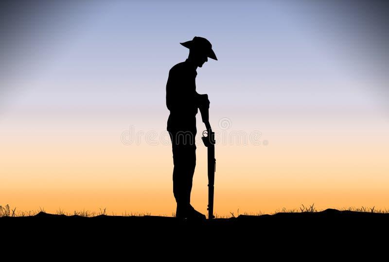Soldado Silhouette de ANZAC no alvorecer ilustração stock