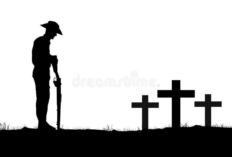 Soldado Silhouette de ANZAC no alvorecer ilustração do vetor