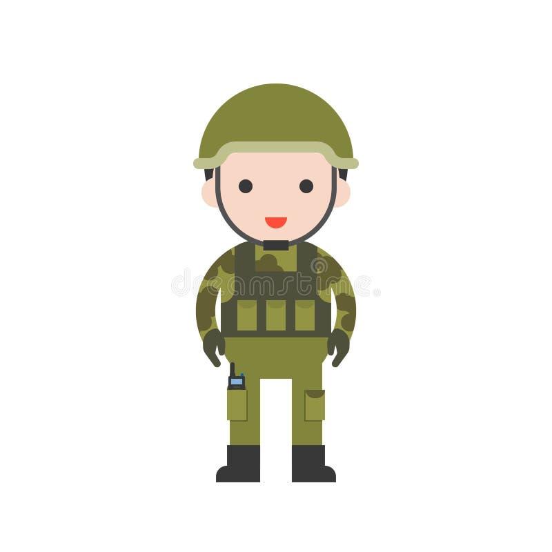 Soldado, sistema profesional del carácter lindo, diseño plano stock de ilustración