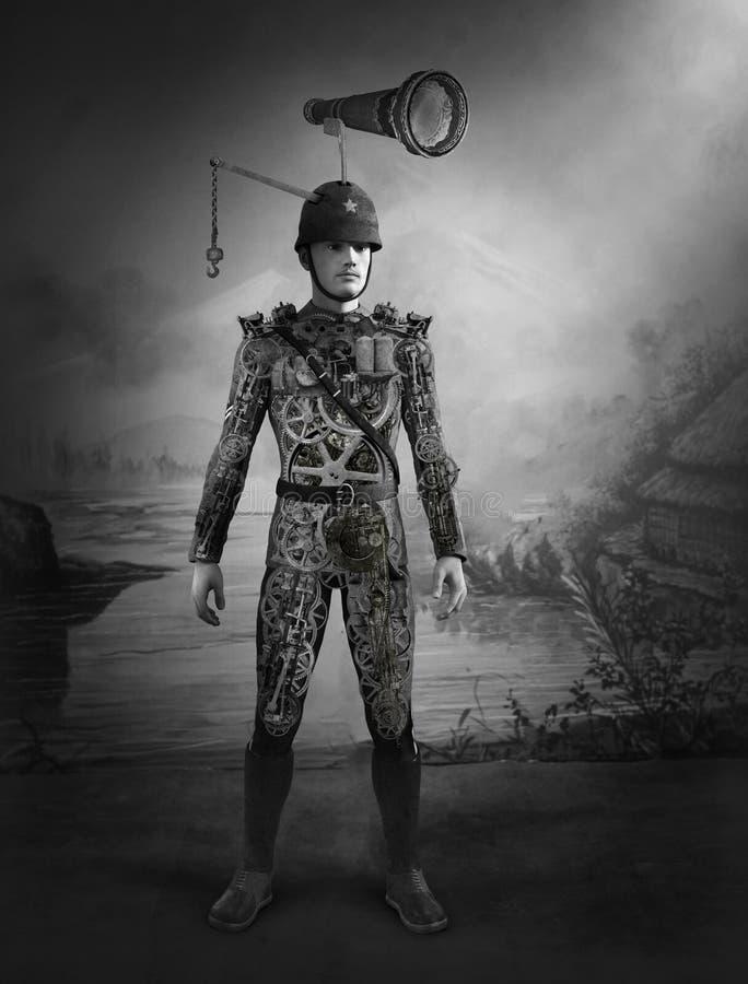 Soldado surreal Portrait do vintage de Steampunk ilustração royalty free