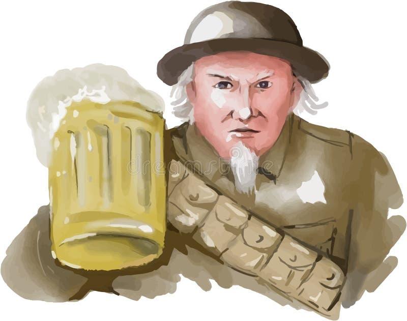 Soldado Toasting Beer Watercolor del tío Sam WW1 ilustración del vector