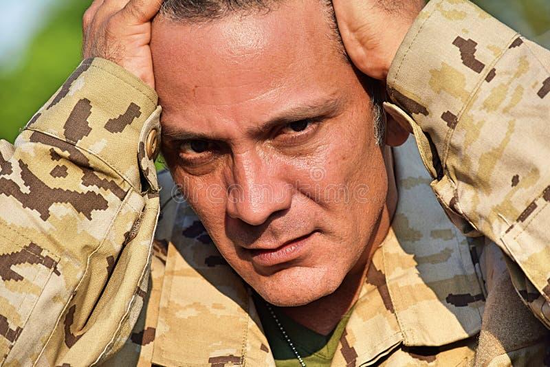 Soldado Under Stress foto de stock royalty free