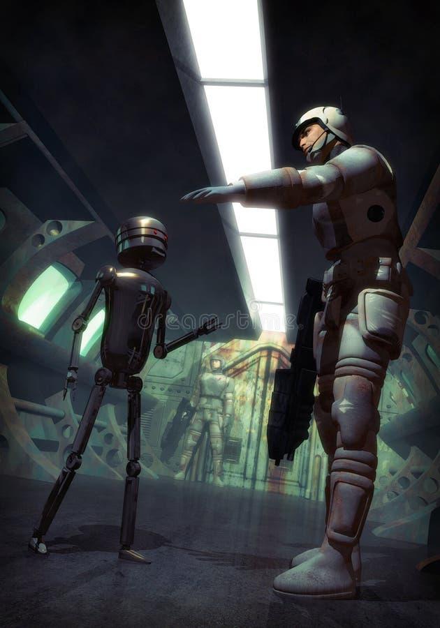 Soldado y droid futuristas stock de ilustración