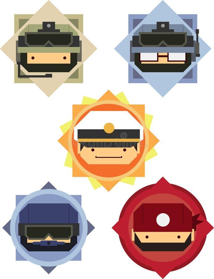 Soldado y oficial militares Cartoon Icons stock de ilustración