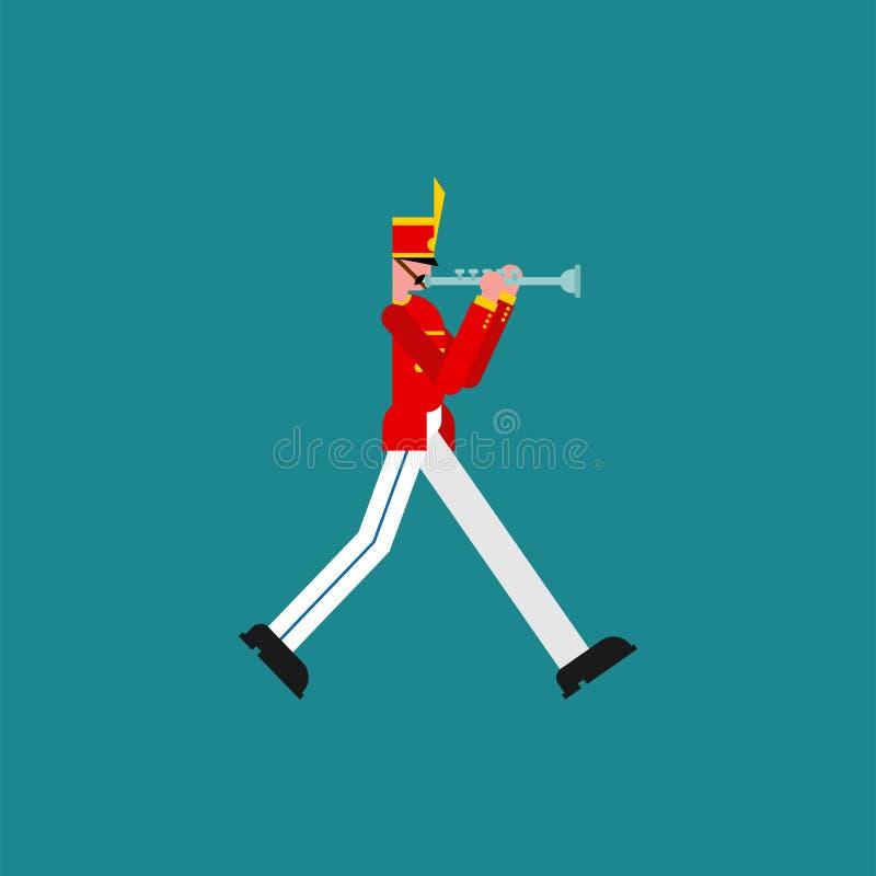 Soldado y trompeta Soldado con el instrumento musical banda de Military del músico ilustración del vector