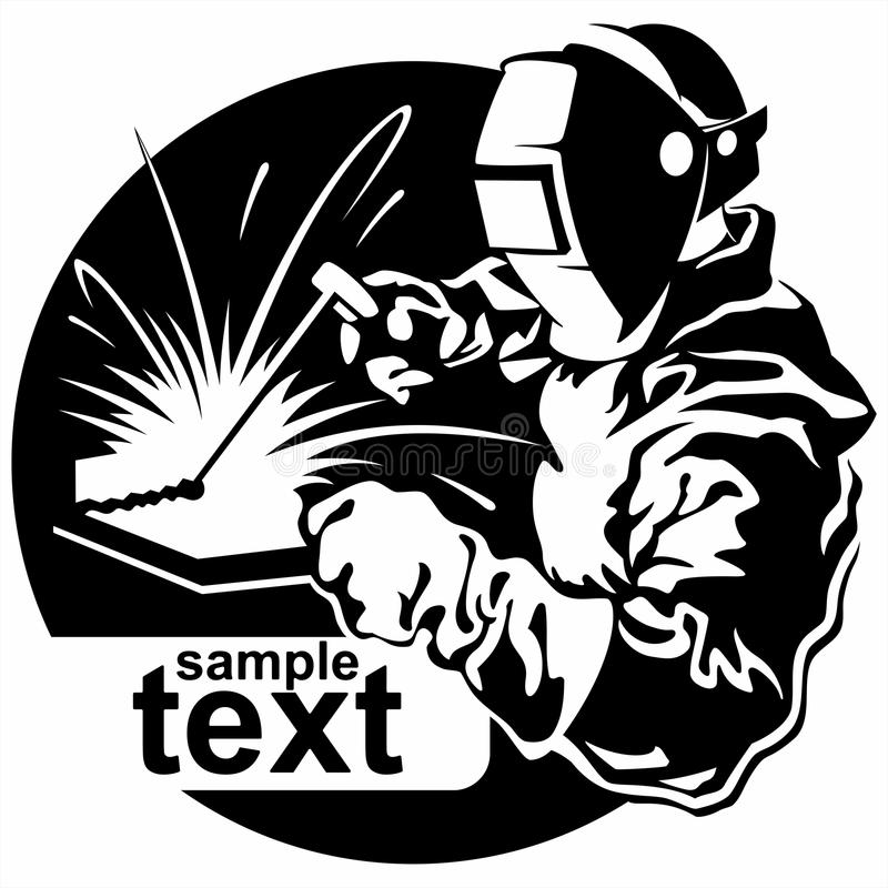 Soldador en el metal de la máscara que cocina el ejemplo del vector libre illustration