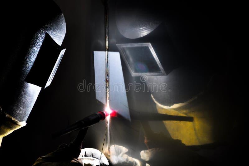 Soldador industrial do argônio foto de stock