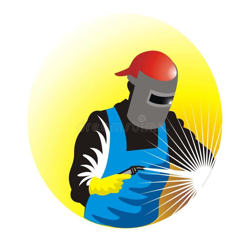 Soldador no trabalho com silhueta da tocha ilustração do vetor