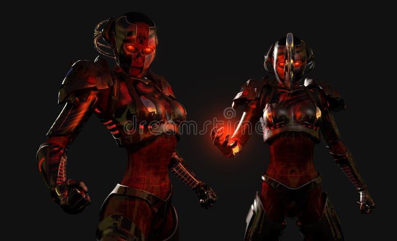 Soldados avanzados del cyborg stock de ilustración