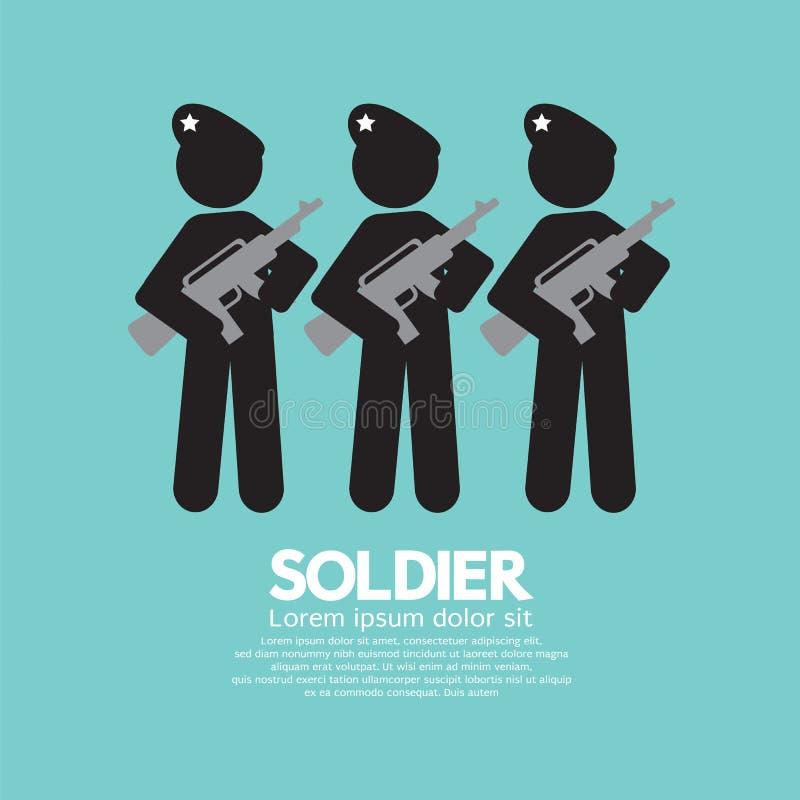 Soldados con símbolo de los armas ilustración del vector