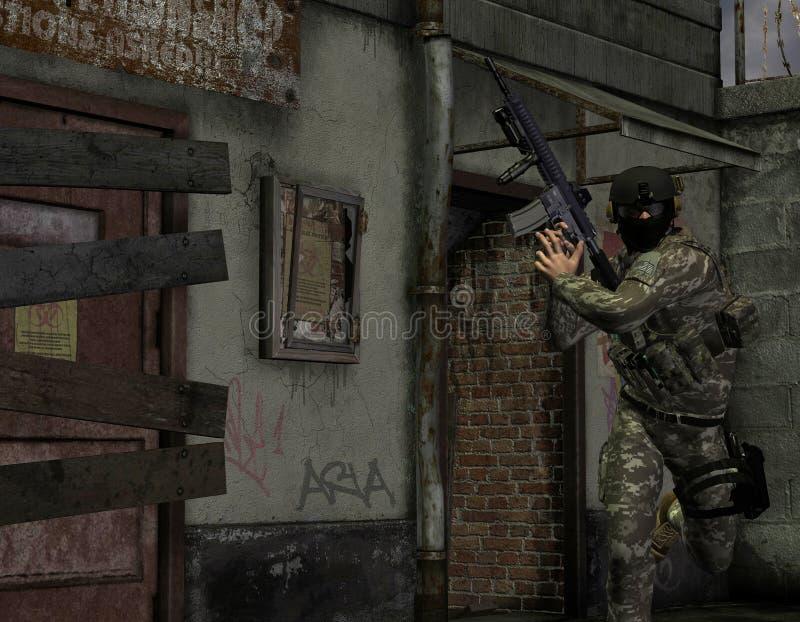 Soldados de la élite en la acción ilustración del vector