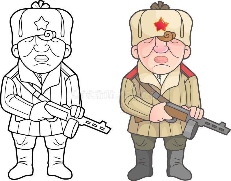 Soldados de la Segunda Guerra Mundial del ejército soviético stock de ilustración