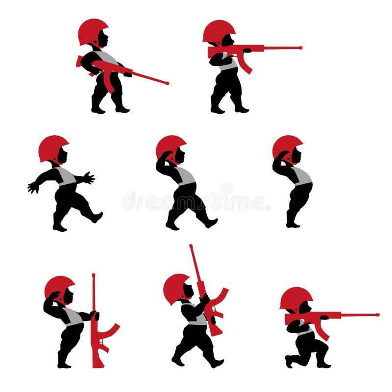Soldados del cupido con el rifle en diseño plano ilustración del vector
