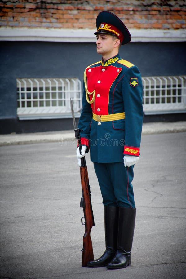 Soldados del guardia de honor Platoon del ministerio de asuntos internos imagen de archivo libre de regalías