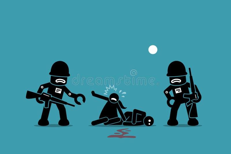 Soldados del robot que conquistan humanidad libre illustration