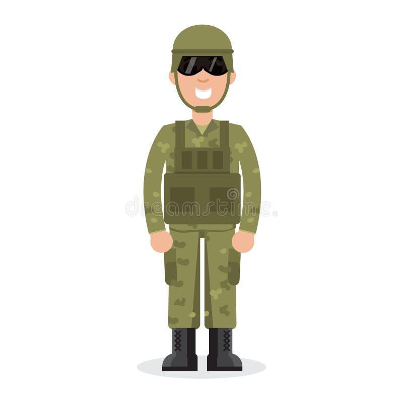 Soldados do exército dos EUA do homem na camuflagem ilustração royalty free