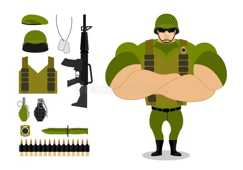 Soldados e armas Grupo de munição militar para a guerra Exército c ilustração do vetor
