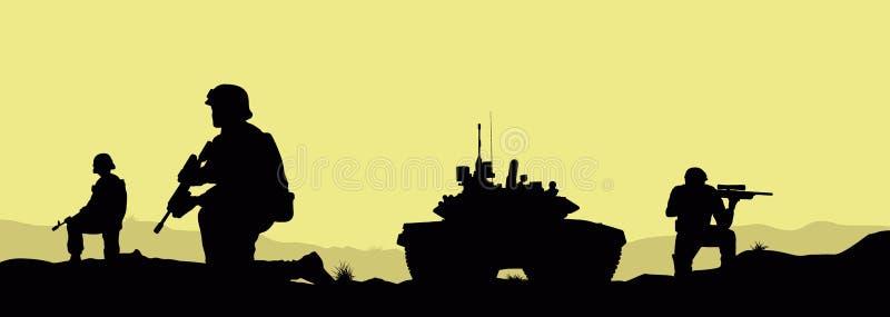 Soldados e um tanque ilustração royalty free